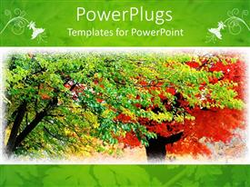 PowerPlugs: PowerPoint template with a number of trees blossoming with white frame