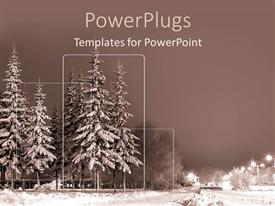 PowerPlugs: PowerPoint template with a number of trees covered in snow