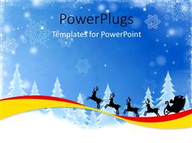 PowerPoint template displaying a number of trees covered in snow with the arrival of Santa