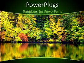 PowerPlugs: PowerPoint template with a number of trees with a lake