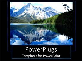 PowerPlugs: PowerPoint template with a number of trees and mountains with their reflection in water