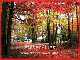 PowerPlugs: PowerPoint template with a number of trees together in autumn season