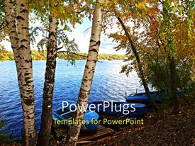 PowerPlugs: PowerPoint template with a number of trees with water in background