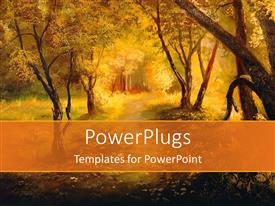PowerPlugs: PowerPoint template with a number of trees and way in the forest