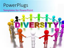 PowerPlugs: PowerPoint template with a number of various colored figures with the word diversity