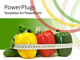 PowerPlugs: PowerPoint template with a number of various vegetables with green background