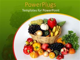 PowerPoint template displaying a number of vegetables in the basket and outside of it