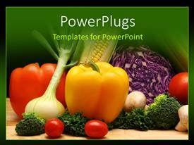 PowerPlugs: PowerPoint template with a number of vegetables with green background