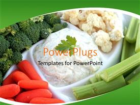 PowerPoint template displaying a number of vegetables with greenish background