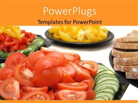 PowerPoint template displaying a number of vegetales and fruits with white background