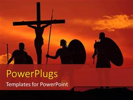 PowerPoint template displaying a number of warriors along with crucified Jesus