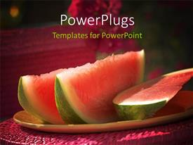PowerPlugs: PowerPoint template with a number of water melon pieces and blackish background