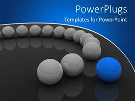 PowerPlugs: PowerPoint template with a number of off white balls with a blue one