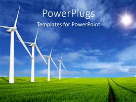 PowerPlugs: PowerPoint template with a number of windmills with clouds in the background