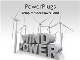 PowerPoint template displaying a number of windmills and the words windpower