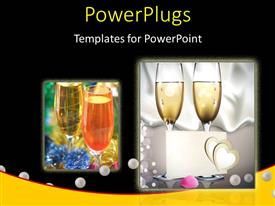 PowerPlugs: PowerPoint template with a number of wine glasses with blackish background