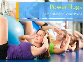 PowerPoint template displaying a number of women exercising with blurred background