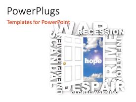 PowerPlugs: PowerPoint template with a number of words along with an open door