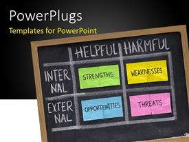 PowerPlugs: PowerPoint template with a number of words on the blackboard with blackish background
