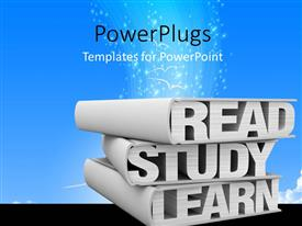 PowerPoint template displaying a number of words with bluish background