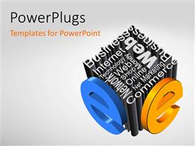 PowerPlugs: PowerPoint template with a number of words creating a dice shape with grayish background