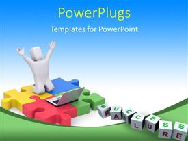 PowerPlugs: PowerPoint template with a number of words and a person happy because of a laptop