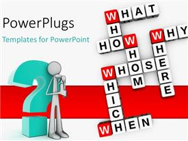 PowerPlugs: PowerPoint template with a number of words with a person and a question mark