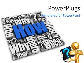 PowerPlugs: PowerPoint template with a number of words and a person reading a book