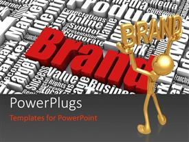 PowerPlugs: PowerPoint template with a number of words with the word brand in red color