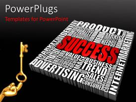 PowerPlugs: PowerPoint template with a number of words with the word success in the middle
