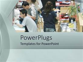 PowerPlugs: PowerPoint template with a number of workers and customers