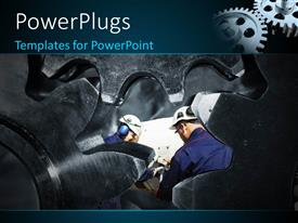 PowerPlugs: PowerPoint template with a number of workers with a number of gears