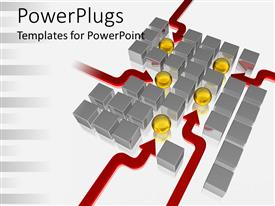 PowerPlugs: PowerPoint template with a number of yellow balls along with a number of boxes