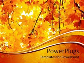 PowerPlugs: PowerPoint template with a number of yellow leaves during the fall season