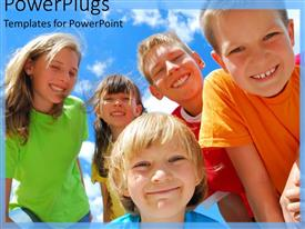 PowerPoint template displaying a number of young children smiling together with clouds in the background