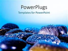 PowerPlugs: PowerPoint template with a number of zen stones with bluish background