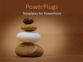PowerPoint template displaying a number of zen stones with brownish background and place for text
