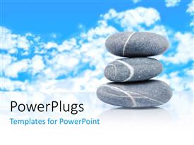 PowerPlugs: PowerPoint template with a number of zen stones with clouds in the background
