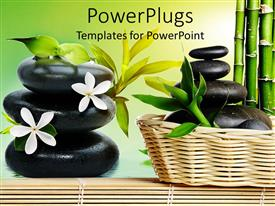 PowerPlugs: PowerPoint template with a number of zen stones with few of them placed inside a bucket