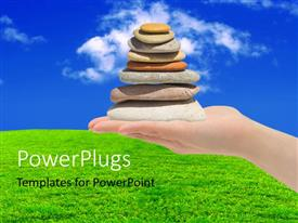 PowerPlugs: PowerPoint template with a number of zen stones with a number of clouds in the background