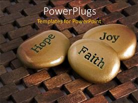 PowerPlugs: PowerPoint template with a number of zen stones with a wooden background