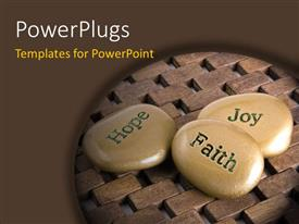 PowerPlugs: PowerPoint template with a number of zen stones with wooden background