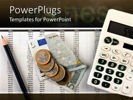 PowerPlugs: PowerPoint template with numbers on sheet including months calculator money and pencil