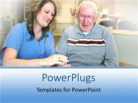 PowerPlugs: PowerPoint template with a nurse attending to an adult elderly male in a hospital setting