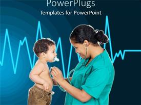 PowerPoint template displaying nurse examining heartbeat of little boy with cardiogram pulse in background