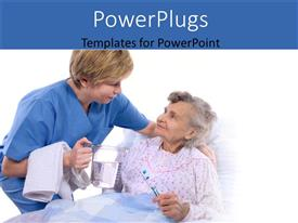 PowerPlugs: PowerPoint template with nurse helping an old women at hospital bed