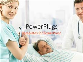PowerPlugs: PowerPoint template with nurse holding a patient sheet, doctor and patient smiling at the camera with window displaying a city view in the background