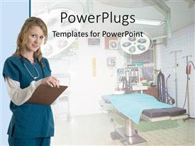 PowerPoint template displaying nurse in hospital taking notes beside patient bed