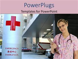 PowerPoint template displaying nurse in pink scrubs in hospital parking garage near emergency sign