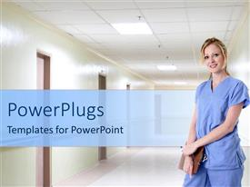 PowerPoint template displaying a nurse standing in a hospital corridoor holdng a clipboard